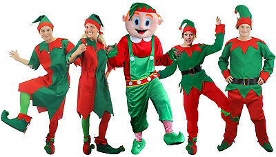 Adult Elf Costume Christmas Fancy Dress Santas Helper Choose Style Ladies Mens