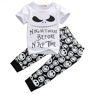 US 2pcs Monster Toddler Newborn Baby Boys T-shirt Tops+Pants Outfits Set Clothes