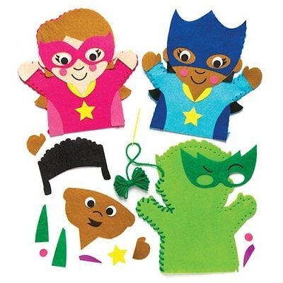Baker Ross Star Hero Hand Puppet Sewing Kits Pack Of 4 For Kids To Make