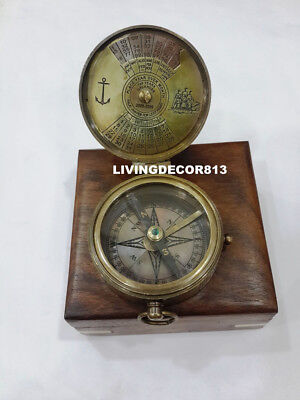 Maritime Kelvin Hughes Push Button  Nautical Compass With Brown Wooden Box