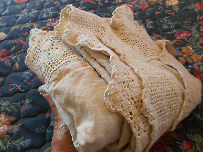 Heavy homespun sturdy antique linen hand sewn & crochet wide lace edge & insets