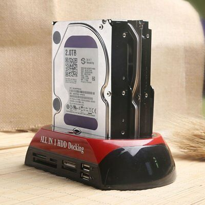"USB 3.0 Dual-Bay 2.5"" 3.5"" Drive IDE SATA HDD Docking Station Card Reader 2Q"