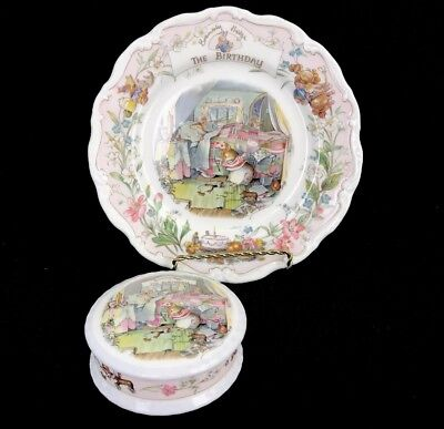 VIntage Royal Doulton England Brambly Hedge The Birthday Plate & Covered Box