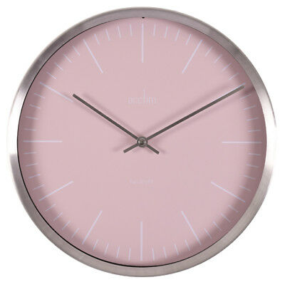 Acctim Carrie Design Brushed Silver Effect Wall Clock Pale Pink Dial 25cm