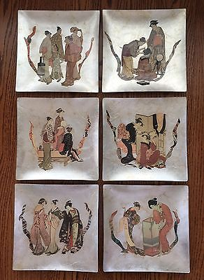 """Vintage Signed Carole Stupell Asian 12""""x12"""" Glass Plates Chargers Display Art"""
