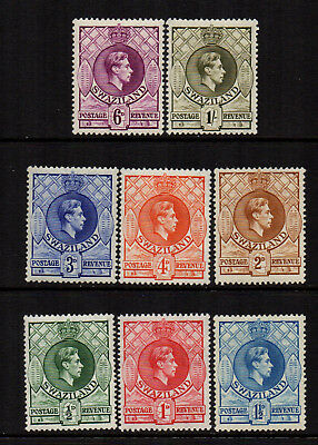 Swaziland 1938/54 KGVI to 1/- (8) - Mixed Perfs - SG 28a/35 - FM