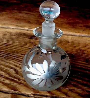 Beautiful Antique Art Nouveau Sterling Silver Overlay Glass Perfume Bottle