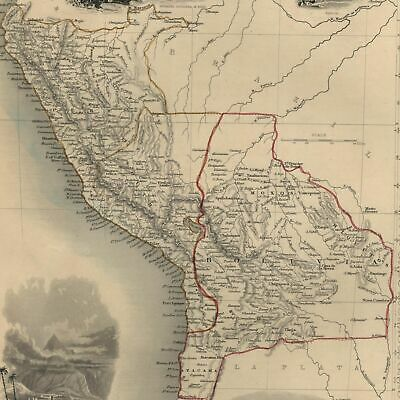 Peru Bolivia South America c.1850 Tallis Rapkin decorative map hand colored