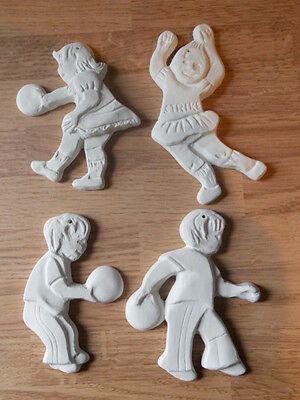C-0763 (4) Flat One Sided Cheerleader & Bowler Ornaments Ceramic Bisque