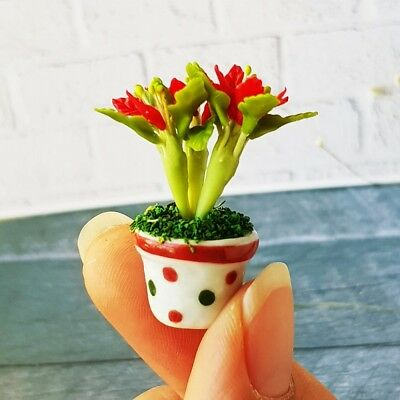 Mini Fairy Garden Miniature Christmas Tree Dolls House Decor Clay Flower Handmad