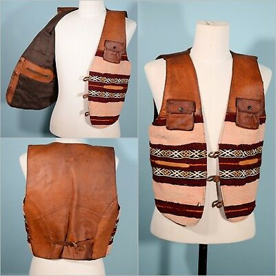 Vintage Mens Leather + Ethnic Woven Boho Hippie Vest + Pockets