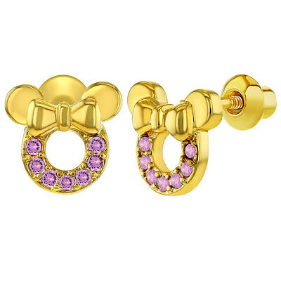14k Gold Plated Pink Cubic Zirconia Small Mouse Screw Back Baby Kids Earrings