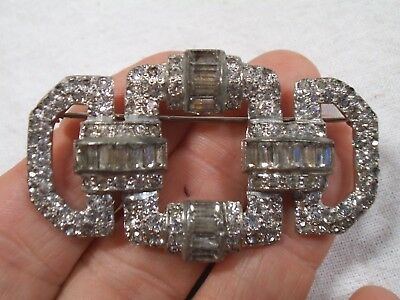 Vintage Pave Clear Rhinestone Brooch - Art Deco Open Chain Link Look - 2 1/8""