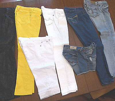Lot of 7 Pair Women's Pants Mixed Brands - most size 7 - colored jeans