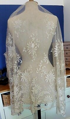 A VICTORIAN MACHINE LACE SKIRT OVERLAY SECTION -  Suitable for a bridal veil