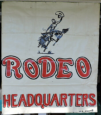 """Vintage Hand Painted 1900's Fandango Rodeo Banner Sign 45"""" x 52"""" Poster WL Hunt"""