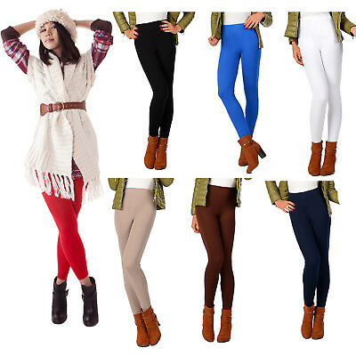 New Womens Ladies Winter Fleece Thermal Warm Thick Full Length Leggings Colours