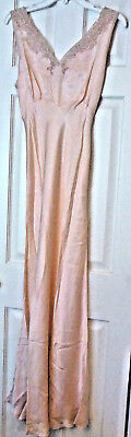 VINTAGE ANTIQUE PEACH SILK LACE NIGHTGOWN NEGLIGEE Bias Cut Long