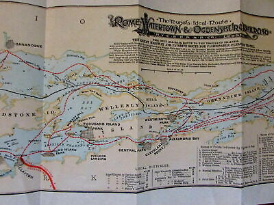Thousand Islands NY Ontario steamship tourist lines 1897 ailroad map