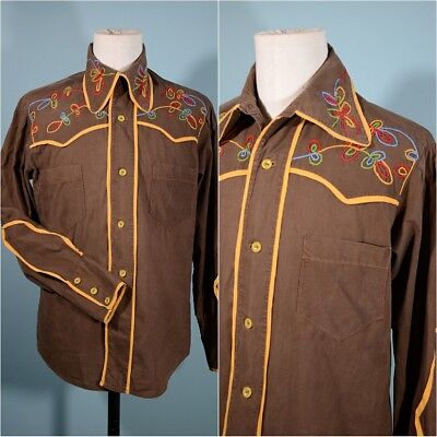 Vintage Embroidered Western Style Cowboy Shirt, Yellow Trim Rockabilly Rocker