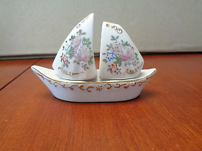 Vintage Porcelain Salt & Pepper Shakers - Sailboat - Screw-On Caps - Occ. Japan