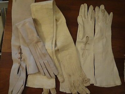 Vintage Art Deco Edwardian kid leather opera glove lot as is XS & S  repurpose