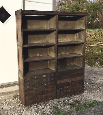 Vtg Antique Oak Stacking Storage Cabinet Industrial Hardware General Store Wood