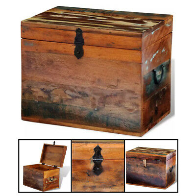 "Reclaimed Solid Wood Storage Box Handmade Chest Vintage Antique 15"" x 11"" x 12"""