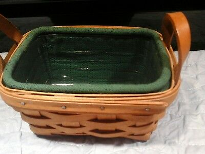 Longaberger Tea Basket  1993 with plastic protector and green liner