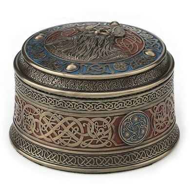 "4"" Norse God Odin Round Viking Trinket Box"