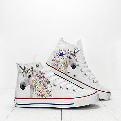 51480ff3c415 White Unicorn with Flowers Custom Converse Hi Top Chuck Taylor girls   sneakers