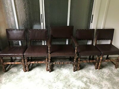Set of 4 Cromwellian style oak and leather dining chairs - plus one carver