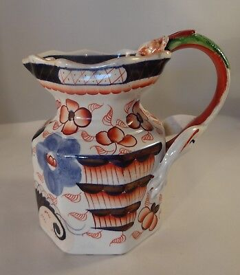 "Antique Ironstone Imari Chinoiserie Dragon Handled 6"" Gaudy Welsh Jug c1840"
