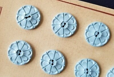 """Vintage Buttons - 1950's 24 Baby Blue Carved Flower 2-hole 5/8"""" Buttons"""