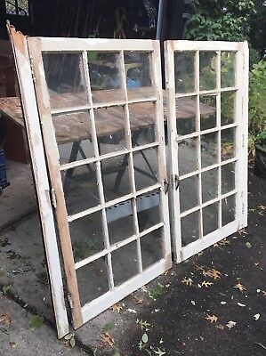 Vintage Pair of Wooden 1930's interior 12 glass panes cabinet doors