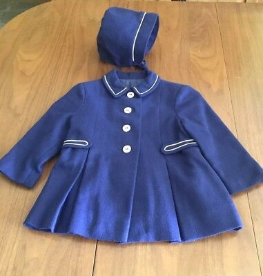 Antique VTG Baby Toddler Children's Navy Wool Coat and Hat Set w/ White Piping