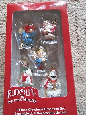 Rudolph The Red Nosed Reindeer - Miniature Holiday Ornaments - Kurt A - Set of 5