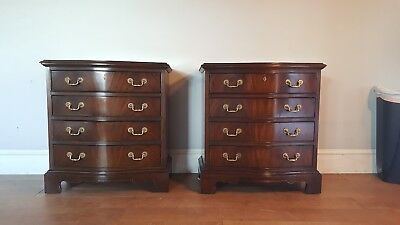 Pair Banded Top Mahogany Nightstands By Drexel