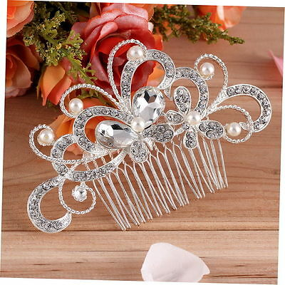 Wedding women hair bride Accessories Silver Hair Comb Pearls Clip Pin Bridal 5