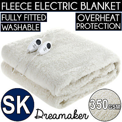 SUPER KING 350 GSM FLEECE ELECTRIC BLANKET Heated Bed Fitted Fleecy Underlay