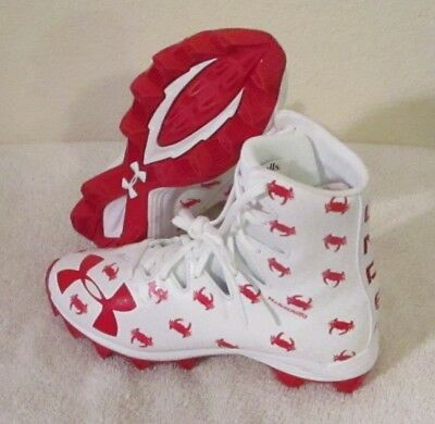 NEW Under Armour Boys UA Highlight Jr LE RM Lacrosse Cleats 3 White/Red MSRP$60