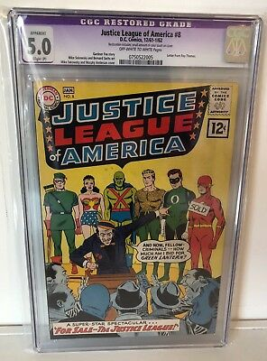 Justice League Of America #8 - Cgc 5.0 (Restored) - Ow/w Pages
