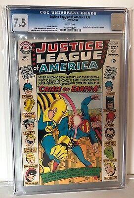 Justice League Of America #38 - Cgc 7.5 - Justice Society Xover - White Pages