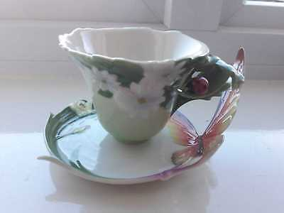 Franz lady bird leaf cup and butterfly saucer