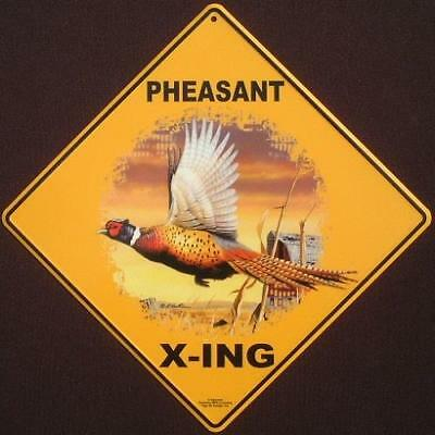 PHEASANT ALUMINUM X-ING Sign decor picture birds novelty art signs wildlife