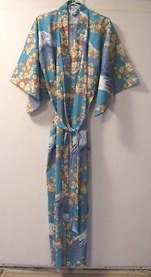 GORGEOUS Cotton KIMONO Robe w/Belt~MT FUJI/Floral Design~SMITHSONIAN~Sz XL~Japan