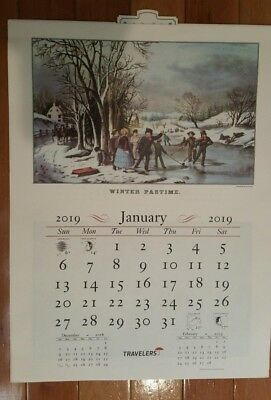 2019 Travelers Insurance Co.  Currier & Ives Wall Calendar - NEW