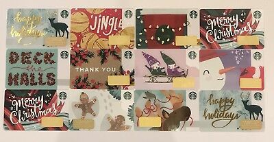 12 NEW Starbucks 2018 Holiday & Christmas Gift Card Set