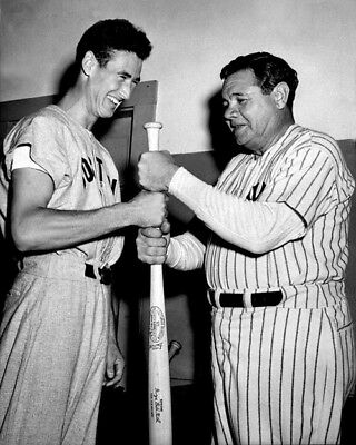 New York Yankees BABE RUTH & Boston Red Sox TED WILLIAMS Glossy 8x10 Photo