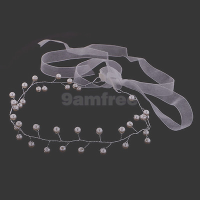Faux Pearl Wedding Bridal Flower girl hair Accessories Ribbon Tiara Headband